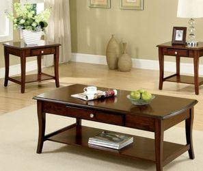 Coffee Table & 2 End Tables in Dark Oak Finish for Sale in Montebello,  CA
