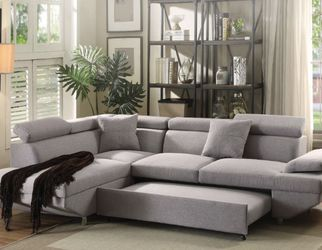 Sectional Sofa 🛋 W/ Sleeper Gray Fabric Financing Available for Sale in Fort Lauderdale,  FL