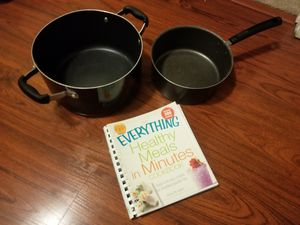 2 pots pans + cook book for Sale in Long Beach, CA