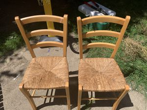 Two sturdy chairs with wicker seats. for Sale in Beaverton, OR