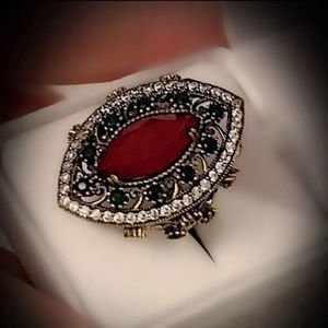 MARQUISE RUBY EMERALD FINE ART RING SIZE 9 Solid 925 Sterling Silver/Gold WOW! Brilliant Facet Cut Gemstones, Diamond Topaz M1718 VS for Sale in San Diego, CA