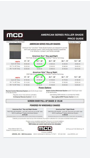 MCD RV Shades. American Duo & American Solo for Sale in Altoona, IA