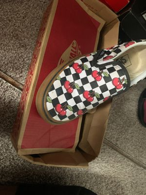 Cherry vans slip on men size 6 women 7.5 for Sale in Hollywood, FL