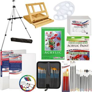 72 Piece Deluxe Acrylic Painting Set with Aluminum Floor Easel, Paint, Canvas & Accessories KIT for Sale in Los Angeles, CA