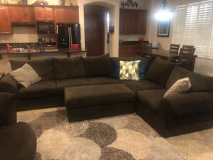 Sectional, roundabout chair, ottoman and dinning room table for Sale in Goodyear, AZ