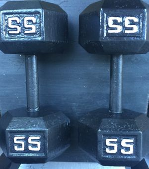 Dumbbell weights home gym equipment 55lb pair for Sale in Mercer Island, WA