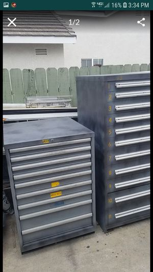 2 Lista Stanley vidmar super heavy duty industrial cabinets each drawer holds approximately 400 lbs for Sale in Tracy, CA