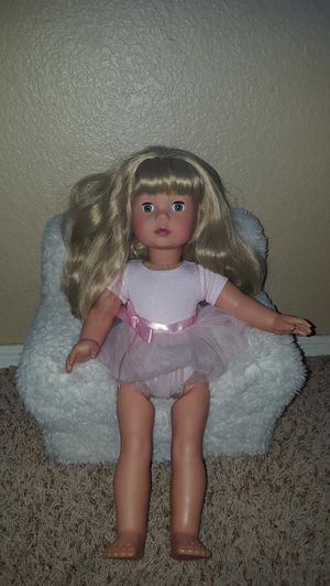 Pottery barn kids gotz doll and sherpa pbk doll chair. 40 Firm for Sale in Glendale, AZ