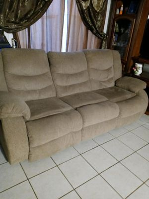 Reclining Sofa Tan for Sale in Bakersfield, CA