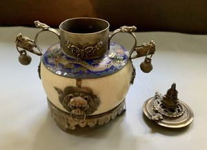 Vintage Chinese stone and cloisonné pot with lid for Sale in Portland, OR