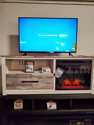 White Fireplace TV Stand with Fireplace Insert for Sale in Garden Grove, CA