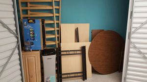 Solid oak full size futon bed frame, solid oak wall cabinet, 'L' shaped desk, kitchen table w/ leaf, air purifier & shelf unit. All for $150 OBO for Sale in Matteson, IL