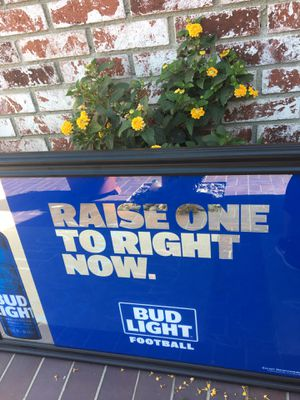 Bud light glass/mirror wall bar sign or for game room for Sale in Corona, CA