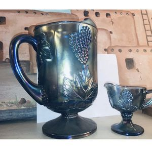 Blue Carnival Glass Pitcher And Creamer for Sale in Oklahoma City, OK