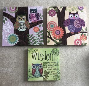 Adorable canvas owl wall art for Sale in Leesburg, VA
