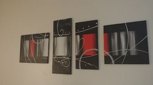 Abstract art black, white, grey, & red for Sale in Aurora, CO