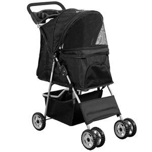 Black 4 Wheel Pet Stroller for Cat, Dog and More, Foldable Carrier Strolling Cart for Sale in Los Angeles, CA