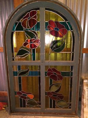 Antique leaded stained glass window five feet tall rounded for Sale in Redmond, WA