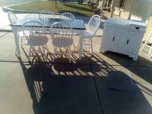 7 PC solid wood farmhouse dining set & buffet / wine bar / coffee bar $375/set (table, 6 chairs & Buffet) 75th Ave Peoria for Sale in Peoria, AZ