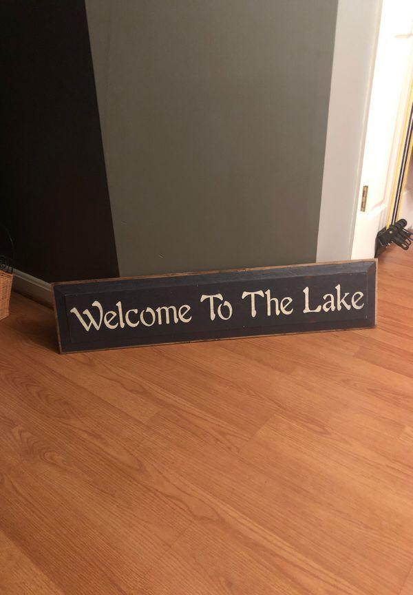 The Lake house sign handmade wooden decor