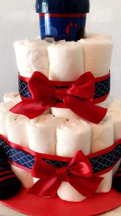 Red & Blue Baby Boy Diaper Cake Available IMMEDIATELY for Sale in Virginia Beach,  VA