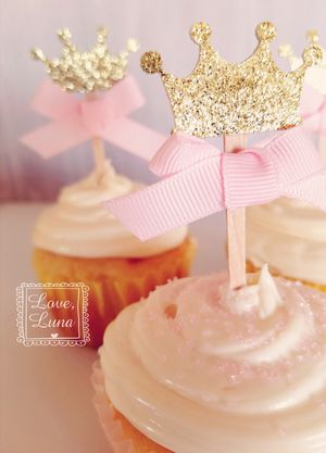 Gold & Pink Crown Cupcake Toppers for Sale in Chula Vista, CA