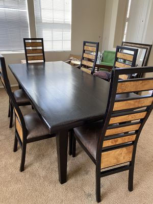 7 piece All Wood Rustic/modern Dining set with 6 leather cushioned chairs - Delivery Available for Sale in Upland, CA