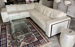 Modern High Fashion white Italian leather sectional sofa for Sale in Houston, TX