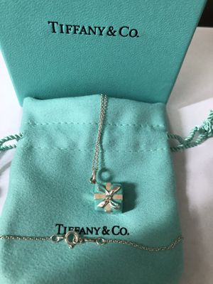 Tiffany & Co Silver Blue Enamel Signature Gift Box Necklace Pendant Gift Pouch for Sale in Union City, NJ