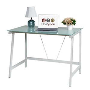 OneSpace 50-HD0107 Contemporary Glass Writing Desk, Steel Frame, White and Cool Blue 11c for Sale in Norcross, GA