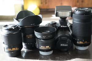 Nikon D3400 w/ Kit Lens + 4 lenses + SB400 Flash for Sale in Newark, CA