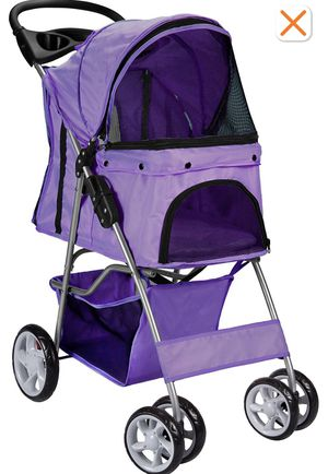 4 wheels pet stroller cat dog cage stroller travel folding carry navy blue for Sale in Compton, CA