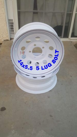 BRAND NEW SET RIM FOR TRAILER SIZE 14X5.5 BOLT 5 LUG PERFECT CONDITION FOR ANY QUESTION TEXT ME ANY TIME PLEASE for Sale in Los Angeles, CA
