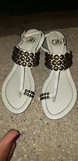 Gianni 100% white leather ankle and toe strap sandela for Sale in Abilene,  TX