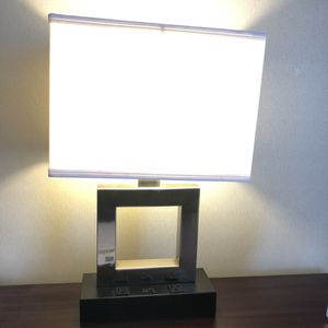 High End Silver Lamp With (2) 110V Outlets Power Source Desk Table for Sale in Plainfield, IL