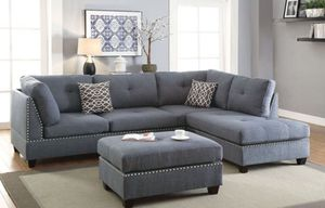 Grey sectional sofa ( ottoman included) reversible chaise for Sale in Fullerton, CA
