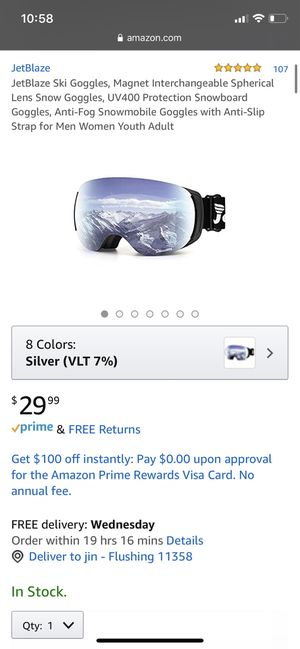 JetBlaze Ski Goggles, Magnet Interchangeable Spherical Lens Snow Goggles, UV400 Protection Snowboard Goggles, Anti-Fog Snowmobile Goggles with Anti-S for Sale in Queens, NY