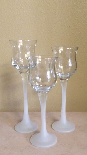 Partylite Glass Candle Holders Set 3-Pc. for Sale in Mill Creek, WA