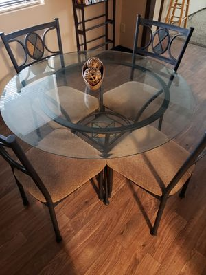 Glass dining table with chairs for Sale in Wichita, KS
