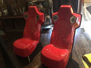 Two Fiberglass in acrylic fire engine red gaming seats built-in speaker hubs for more live experience for Sale in Tampa, FL