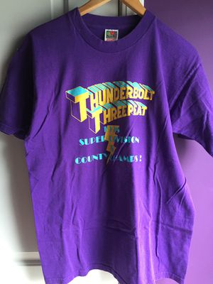 Vintage Thunderbolt Threepeat Shirt Size Large Bolt Graphics Clothing Collectibles Purple for Sale in Duluth, GA
