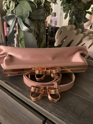 Ted Baker Pastel Pink Rose Gold Belt and Clutch Match for Sale in Costa Mesa, CA