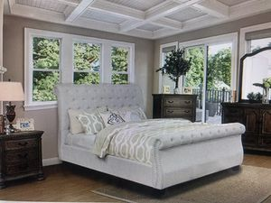 Gorgeous four piece bedroom set includes two nightstands queen size sleigh bed one dresser one mirror amazing quality! 1599.00 tie or 90 days same as for Sale in Mesa, AZ