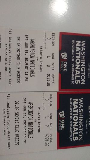 Two Nationals vs. Atlanta Braves Tickets for Sale in Washington, DC