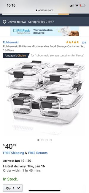 Rubbermaid Brilliance Microwavable Food Storage Container Set, 18-Piece for Sale in Spring Valley, CA