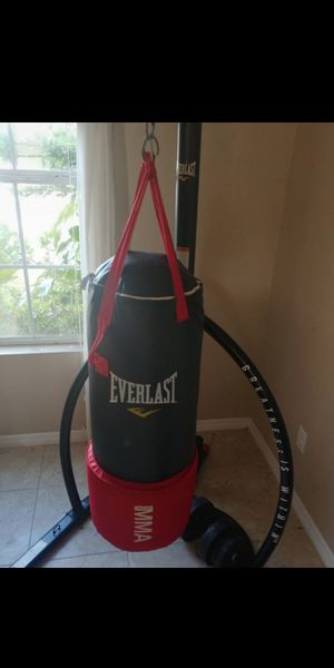 Everlast MMA punching bag with pull up station and Home Gym (Bench Press+Dumbbells) with weights for Sale in Ruskin, FL