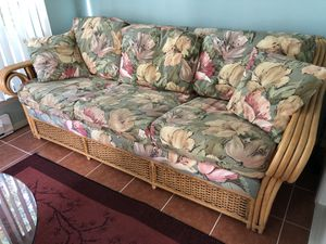 Rattan Sofa bed + coffee table+ swivel stand for Sale in Manchester Township, NJ