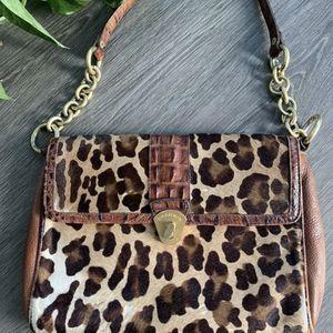BRAHMIN GENUINE LEATHER Cheetah HOBO SHOULDER BAG HANDBAG PURSE for Sale in Carrollton, TX