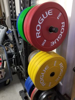 Bumper Olympic Weight Plates 2 Sets - Rogue Fitness LB Color Echo Bumpers - EXCELLENT - PLZ READ POST for Sale in Mansfield, TX