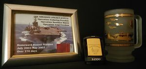 USS Abraham Lincoln CVN-72 Memorabilia - Zippo Lighter - Beer Mug - Framed Picture w/ Pennant Piece for Sale in Granite Falls, WA